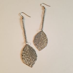 Anthropologie Long Silver Leaf Dangle Earrings